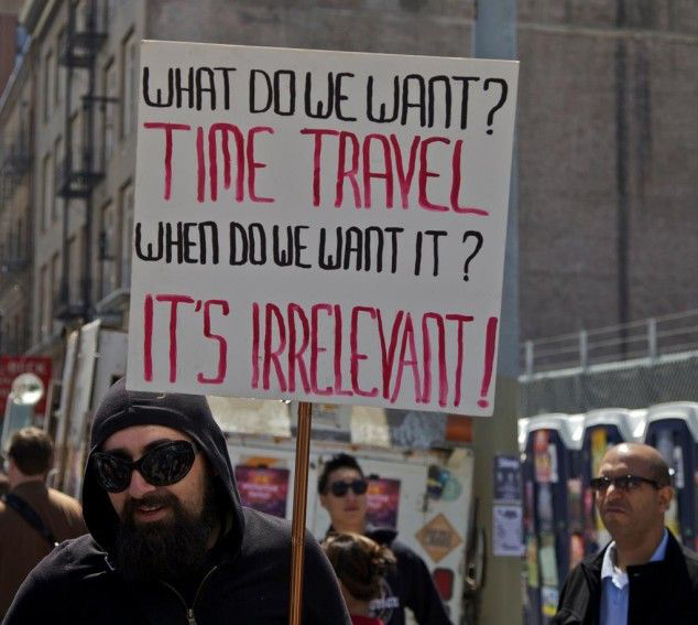 Time travel protest sign funny
