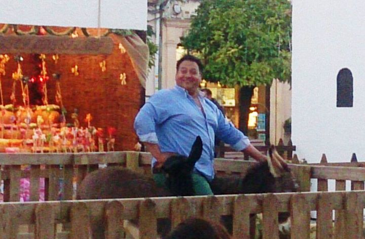 obese man kills nativity donkey
