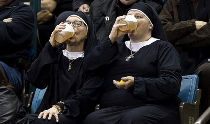 nuns drinking beer - budget