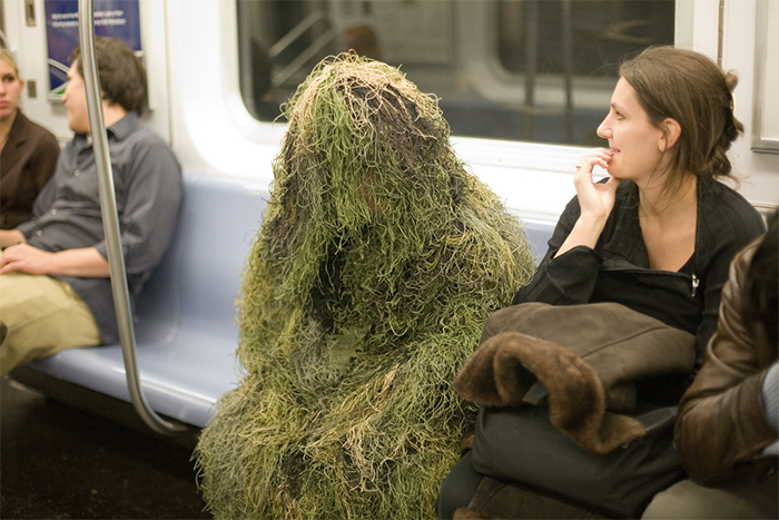 grass man on train