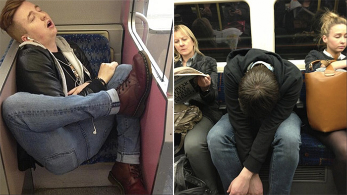 sleeping people on train