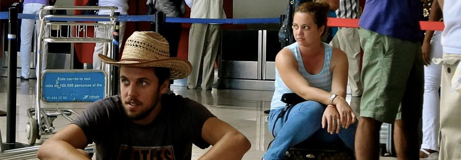 students waiting for flight