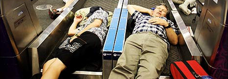 luggage conveyor belt sleeping